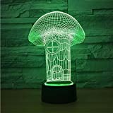 Veilleuse Enfant Mushroom House Visual 3D Lampe Fixtures Luminaria Usb Led Led Night...
