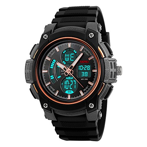 farsler Herren Multifunctional 50 m Wasserdicht Dual Time Display Outdoor Sports Schwimmen Tauchen Digital Armbanduhr (Rose Gold)