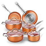 TOBOX Cookware Set Pan & Pot Set 10 Piece, Stock Pot, Saute Pan