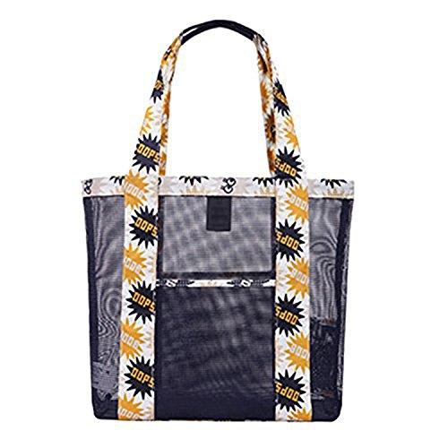 Minetom Unisex damen herren Umhängetasche Totepack Handtasche Tasche Elegant SCHULTERTASCHE mode schwimmen bag Einkaufen Gitter Schwarz Large (Stoff Handtaschen Taupe)