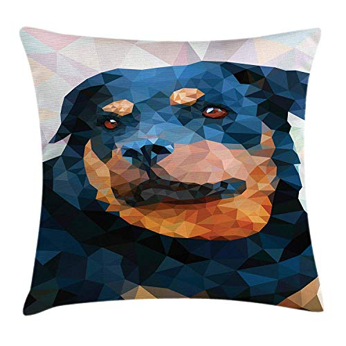 BUZRL Rottweiler Throw Pillow Cushion Cover, Poly Art Style Portrait Pedigree Dog Face Animal Lovers Artsy Friend Image, Decorative Square Accent Pillow Case, 18 X 18 inches, Multicolor
