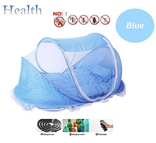Fhd lettino da viaggio per bambini lettino da viaggio portatile lettino per bambini pieghevole per lettino zanzariera lettino portatile lettino pieghevole neonato (blu)