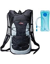 Haoyk 12L Sac à dos étanche Sac de poche à eau légère Sac de sport d'eau (2L) avec bande réfléchissante pour femme Short Course de ski de randonnée Cyclisme Vélo de montagne