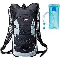 haoyk 12L impermeable mochila ligera bolsa de hidratación deporte bolsa de agua (2L) con reflectante para mujeres hombres correr esquí senderismo ciclismo bicicleta montaña, negro