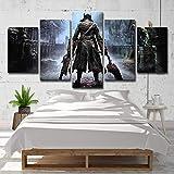 NHFGJ Mural Decoración de Impresiones sobre Lienzo 5 Piezas Personaje de Vuelta Pinturas HD Impresión Póster para la decoración de la Pared del hogar 150X 80 CM (Sin Marco)