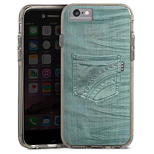 Apple iPhone 6s Bumper Hülle Bumper Case Glitzer Hülle Jeans Look Hose Fashion Bumper Case transparent grau