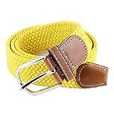 Ducomi® Sails - Cintura Elastica Unisex in Corda Intrecciata con Dettagli in Cuoio e Fibbia Classica - Idea Regalo di Natale per Uomo e Ragazzo - Lunghezza 101 cm (Yellow)