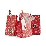 Anotion 24 Adventstüten aus hochwertigem Kraftpapier mit schönem Muster & Sticker, Papiertüten für Adventskalender zum ausfüllen, für Kinder, Geschenk Tasche zum selber Befüllen - Rot Schneeflocke