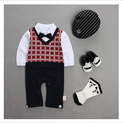 rumiao Frühling Und Herbst Baby Boy Outfits Set 4pcs Long Sleeves Gentleman Jumpsuit Berets Hat Schuhe Und Strumpf,6-9month - Jahrhunderts Formel