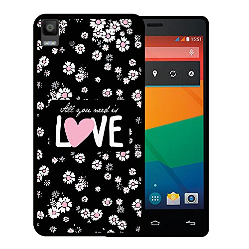 WoowCase Bq Aquaris E5s - E5 4G Hülle, Handyhülle Silikon für [ Bq Aquaris E5s - E5 4G ] Blumen mit dem Satz - All Your Need is Love Handytasche Handy Cover Case Schutzhülle Flexible TPU - Schwarz