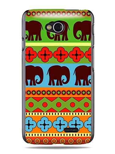 """GRÜV Premium Case - Design """"Afrikanische Elefanten, Tribalkunst"""" - Qualitativ Hochwertiger Druck Schwarze Hülle - für Optimus L70 W5 D320 D325 MS323 VS450PP"""