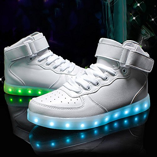 Azbro Women's Fashion Rechargeable LED Light-Up High Top Sneakers White