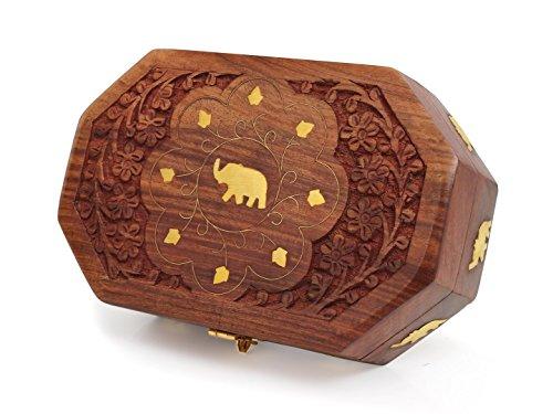 Handgemachte hölzerne Schmuckschatulle, einzelne Elefanten Inlay und geschnitzte Aufbewahrungsbox, Schmuck Box Organizer, Andenken Schmuck Box für Frauen, braun 8 X 5 Zoll