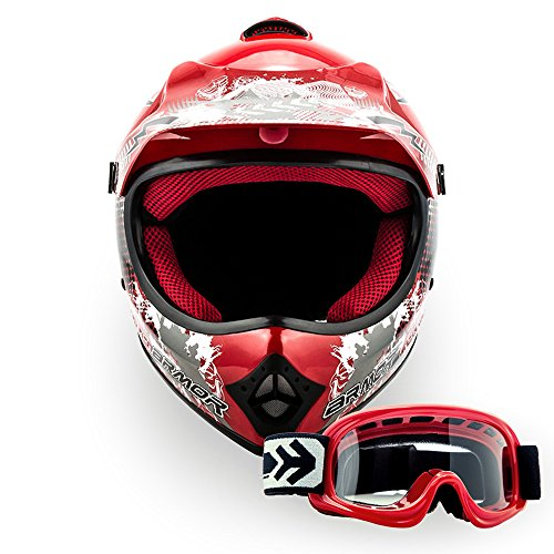 ARROW HELMETS AKC-49 SET - BRILLE + CROSSHELM - Moto-Cross-Helm Cross-Helm Kinder-Cross-Helm Helmet Sport Junior Kids Quad Pocket-Bike Enduro MX Motorrad-Helm Cross-Bike Kinder-Helm MTB , DOT zertifiziert, inkl. Stofftragetasche, ROT (XS (51-52cm))