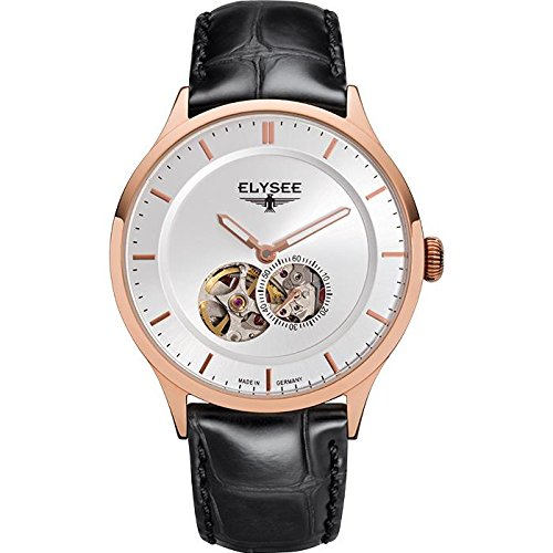 ELYSEE Men's Nestor 40mm Black Leather Band Rose Gold Plated Case Automatic Silver-Tone Dial Watch 15103
