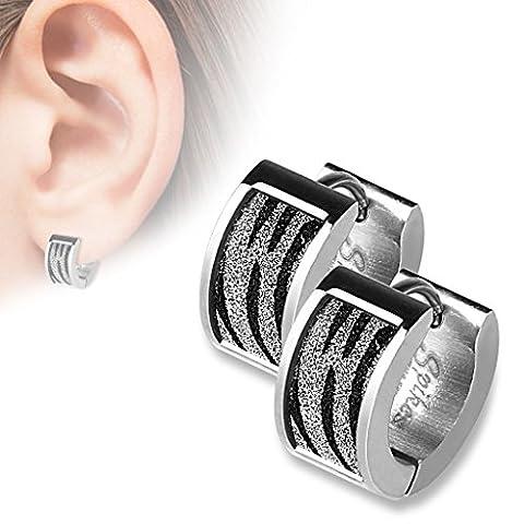 Paire boucle d'oreille pour femme fille et ado – anneau acier inoxydable Zébre Leopard – Ronde de couleur Noire et argentée discrète et