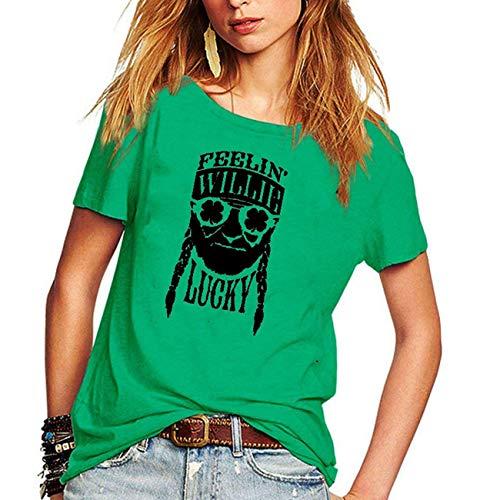 M_Eshop St. Patrick's Day Damen T-Shirt, kurzärmelig, Grün - grün - Groß
