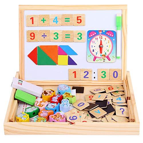 Qys Magnetpuzzle Zahlen und Tiere Puzzles Pädagogisches Holzspielzeug für Eltern-Kind-Interaktion Kinder 3 4 5 Jahre alt Doppelseitiges Zeichen- und Schreibbrett -