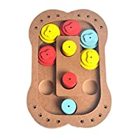 wiFndTu Food Treated Wooden Educational Bone Paw Puzzle Interactive Toy Puppy Dog Cat Pet - Bone