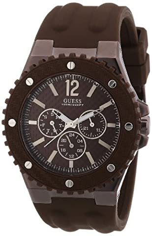 Guess Men's W11619G3 Watch XL with Brown Dial Analogue Display and Overdrive Multifunction Brown Silicone