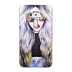 Bluethroat Animated Girl Wearing Sunglasses Back Case Cover for Asus Zenfone 3 ZE520KL (5.2 inches)