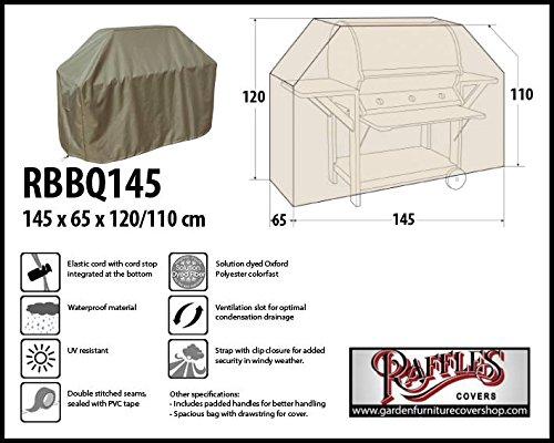 Raffles Covers RBBQ145 Grillabdeckung 145 x 65 cm Wetterschutzhülle für Grill, Abdeckplane BBQ