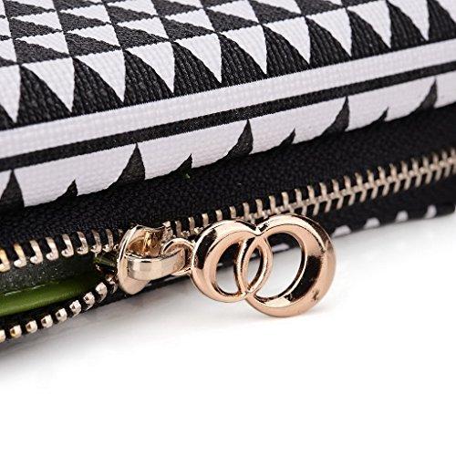Kroo Pochette/étui style tribal urbain pour Samsung Galaxy A7 Multicolore - White and Orange Multicolore - Noir/blanc
