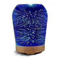 3D Difusor de Aceite de Vidrio para Aromaterapia, VSOAIR 100ml Aceite Esencial Ultrasonido Humidificador de Niebla Fresca con 16 Colores que Cambian la luz de la Noche LED