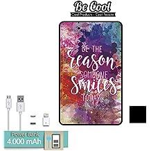 Becool® - Batería Externa Power Bank 4000 mah Negro + Gratis 1 cable USB-MicroUsb (Android) y adaptador lightning (Apple). Razón para sonreír