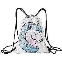 Tskybag - Bolsa de Lentejuelas con cordón y Lentejuelas, para Mujer, niña y Adolescente, Unicorn