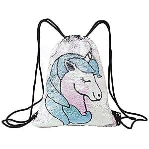 3fd00552902f Tskybag Mermaid Sequin Bag Drawstring Sequins Backpack Gym Bag ...