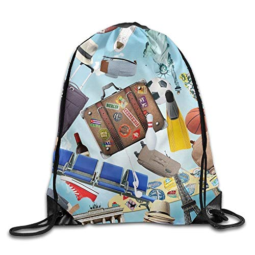 Naiyin Unisex Radio Suitcase Ball Hat Print Drawstring Backpack Rucksack Shoulder Bags Gym Bag Sport Bag