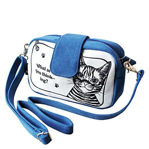 Stampato borsa di tela marea Ms./Spalla di svago Messenger Bag-B A