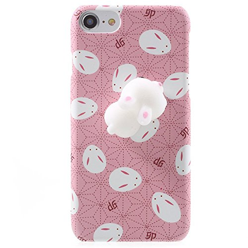 Finger Decompression phone case ,3D Soft Silicone Pinch Squishy Cat TPU Protective Back Cartoon Animal Apple phone Case for iphone 6/6S(4.7-inch) (Lazy Seal) Lazy rabbit