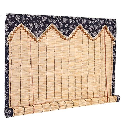 GDMING-Bambusrollo Fenster Sichtschutz Rollos Mit Dekoration Römische Fensterschirme Balkon Tür Draussen Natürliche Gefiltertes Licht Blumenrand, 2 Arten Anpassbare Größe (Spalten Sie Kaufen Dekoration Die Für)