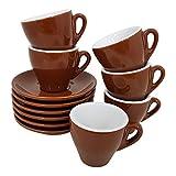 Espresso Tassen einfarbig braun, 6 Stück mit Unterteller Classic Made in Italy