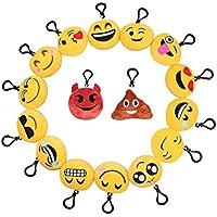 D&&R Llavero Emoji, Relleno Emoji Plush Toy Pillows Mini Emoticon Llavero Decoraciones Soft Party Rellenos de bolsas Juguete de regalo para niños Fuentes de fiesta Favors 16 pack