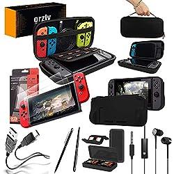 ORZLY® Pack Esencial de Accesorios para Nintendo Switch [Incluye: Protectores de Pantalla, Cable USB, Funda para Consola, Estuche Tarjetas de Juego, Funda Comfort Grip, Auriculares] - Negro