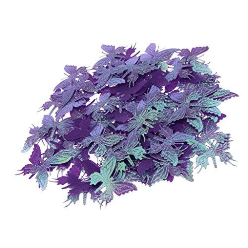 Homyl Schmetterling Konfetti - Tischkonfetti - Tischdeko - aus Satin - Streukonfetti - Party Tischdeko - Lila, 4,5 x 4 x 0,2 cm