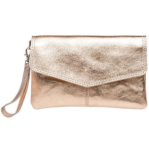 CASPAR Fashion - Borsetta senza manici donna oro rosa