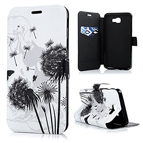 J5 Prime Leather Case KASOS On 5 2016 Cover Falling Dandelion Flower Matte Leather Front Lock [Flip Wallet Purse Leather Shell]Notebook Design[Cash/Card Slots] Change Pouch TPU Inner Bumper [Kicktand Cradle] Magnetic Closure Protective Skin for Samsung Galaxy J5 Prime/On 5 2016