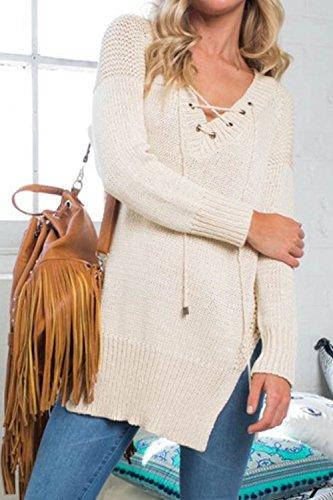 Les Femmes En V Dentelle Partage Occasionnel Oeillet Bandage Knit Pull Pull Beige