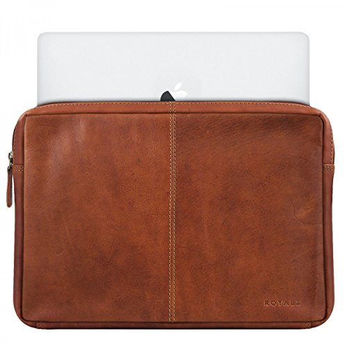 ROYALZ Tasche für Apple MacBook Pro 13 Ledertasche ( 13.3 Zoll ) Lederhülle Hülle Cover Schutztasche Schutzhülle Sleeve Etui Mappe Retro Vintage Leder, Farbe:Cognac Braun