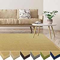 casa pura Natural Sisal Rug - Eco-Friendly and Non-Slip Rug for Living Room, Bedroom, Kitchen | Natural Border - 80x150cm