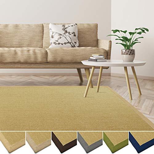 *casa pura Sisal Teppich aus Naturfasern | mit Bordüre aus Baumwolle | pflegeleicht | viele Größen und Farben (Natur/Bordüre Natur, 70×130 cm)*