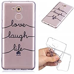 Qiaogle Coque Huawei Honor 6C - Soft TPU Silicone Housse Coque Etui Case Cover pour Huawei Honor 6C (5.0 Pouce) - HX95 / Love Laugh Life