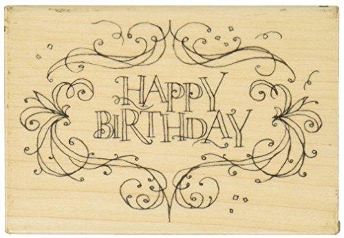 Unbekannt Gummi Stempel Mit Holz Griff, Happy Birthday Flourish Rahmen