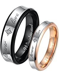 "JewelryWe Free Engraving Stainless Steel ""Forever Love"" Couples Promise Ring Mens Womens Engagement Wedding Bands, 2pcs (with Gift Bag)"