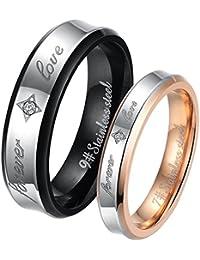 JewelryWe - Par de anillos de acero inoxidable, grabado FOREVER LOVE, para él y para ella, dorado negro plateado - Incluye bolsa de regalo