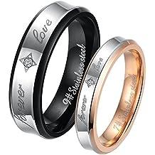 """JewelryWe - Par de anillos de acero inoxidable, grabado """"FOREVER LOVE"""", para él y para ella, dorado negro plateado - Incluye bolsa de regalo"""